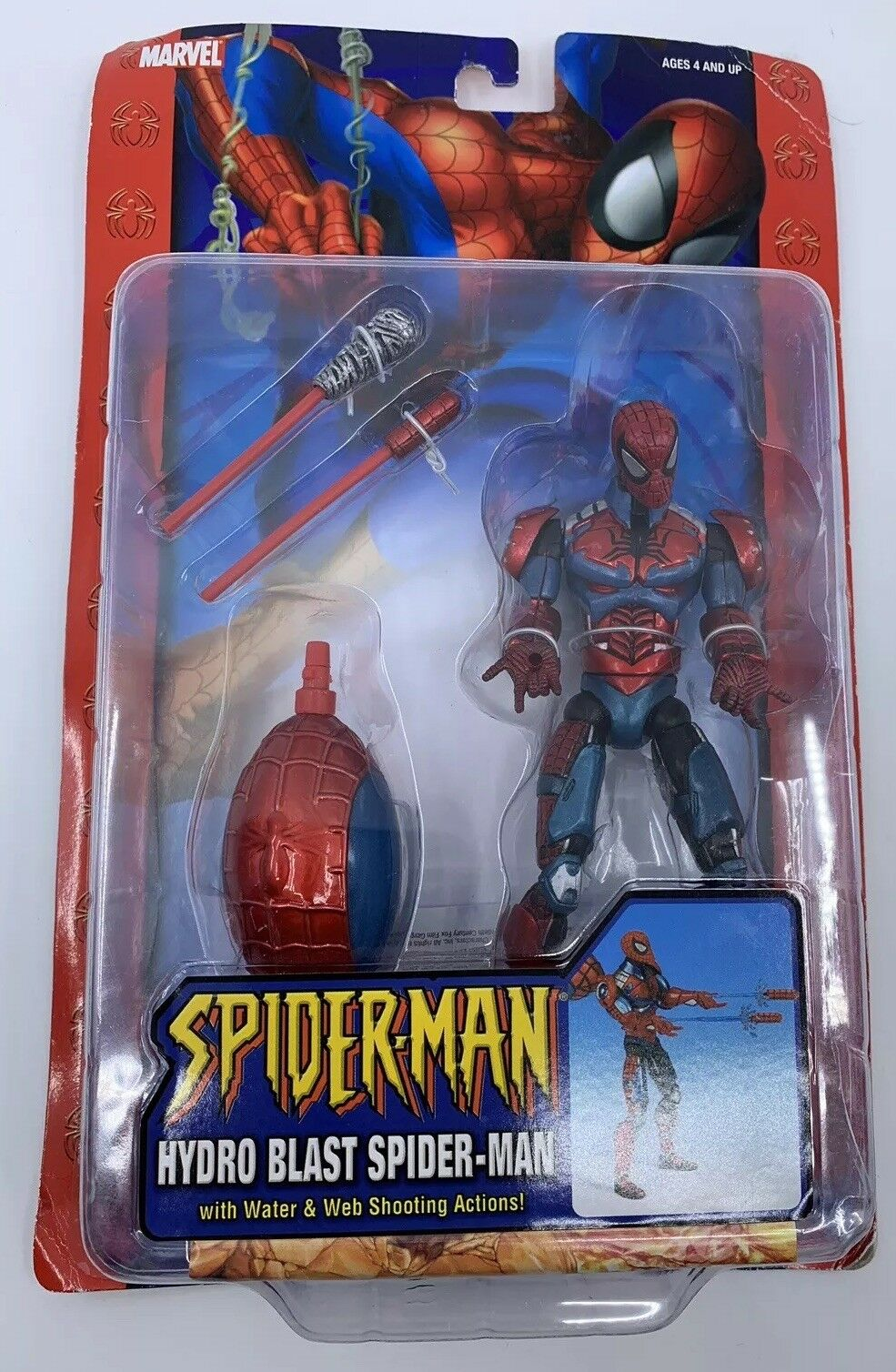 NEW 2004 Marvel Hydro Blast Spider-Man Action Figure w  Water & Web Shooter