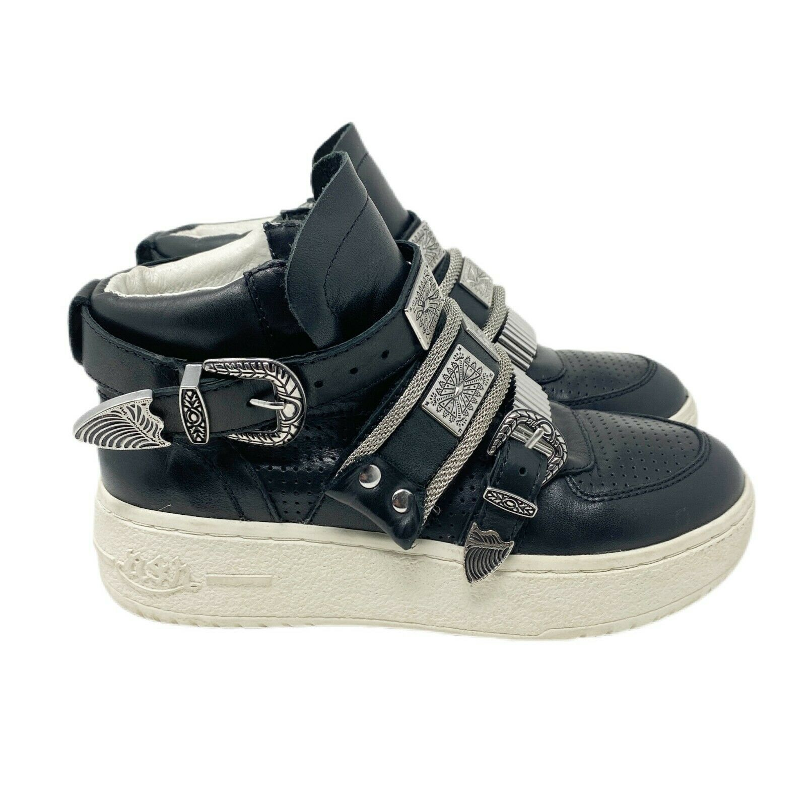 Ash Fame Womens Black Leather Buckle High Top Sneakers Shoes Size US 5.5 EUR 36