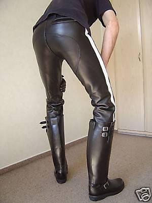 Gilda Pantaloni con strisce bianco pelle-Pantaloni Lederhose con doppio-reißverschuß
