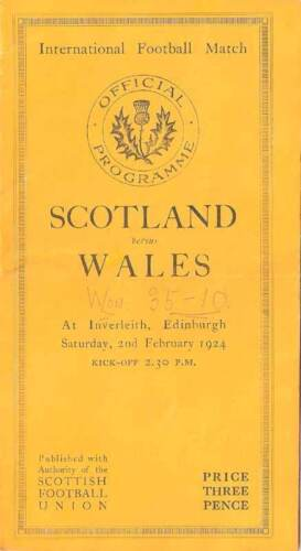 SCOTLAND v WALES 1924 RUGBY PROGRAMME 2 Feb at INVERLEITH