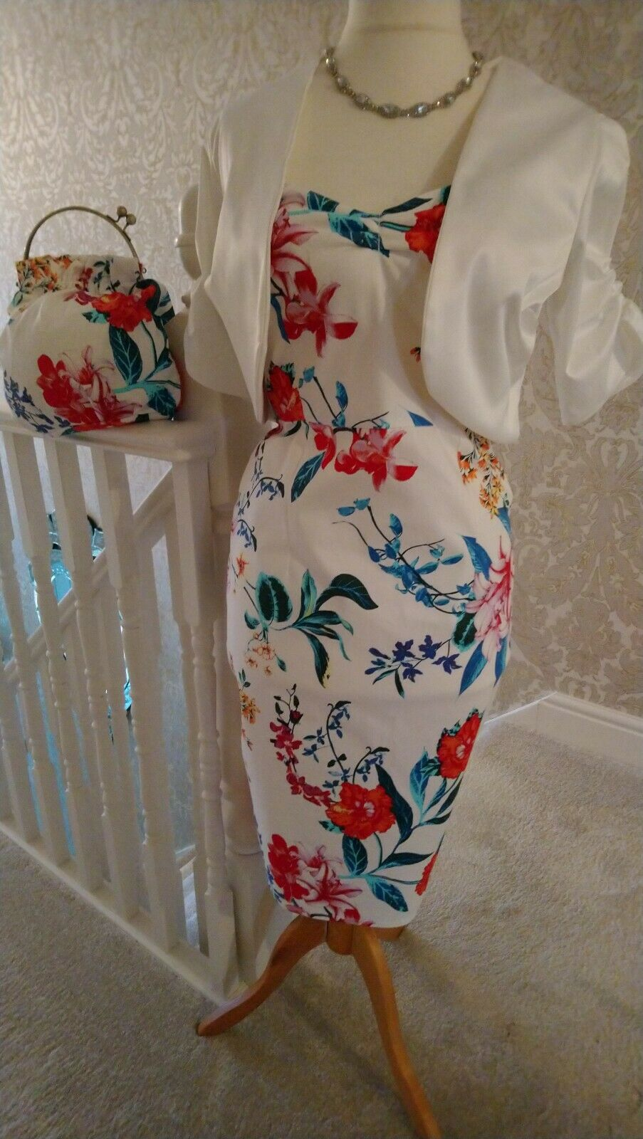 mother of the bride dress jacket and bag NEW 16 floral print stretch sateen