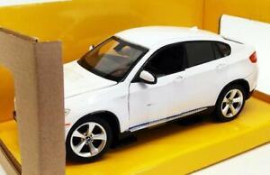 BMW-X6-1-24-SCALA-DIECAST-MODELLO-AUTO-Giocattolo-in-Metallo-Bianco-in-miniatura