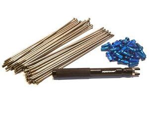 Yamaha YZ 125/250 - Silver Spoke Set w/ Blue Nipples MX 19x185 19x1.85