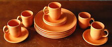 MID CENTURY MODERN FIESTA COLOR SYRACUSE CHINA ORANGE PLATE CUP DINNERWARE LOT