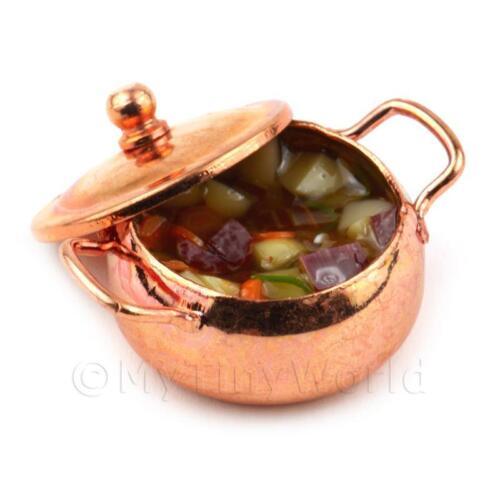 Maison de Poupées Miniature Beuf Casserole dans un Métal Pot