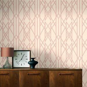 Portefeuille-Lineaire-Papier-Peint-Geometrique-Rose-Dore-Rose-Rasch-215106-Neuf