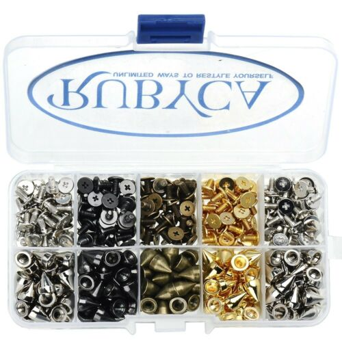 RUBYCA 200pcs 9mm Metal Cone Spikes Studs w// Screws Mix Colors Leathercraft Kit