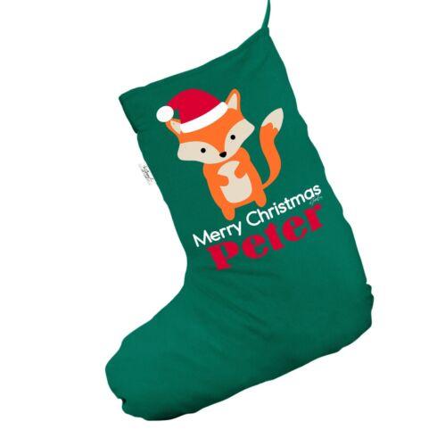 Personnalisé Joyeux Noël Fox Vert Chaussettes de Noël Chaussettes