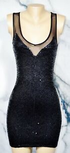 MYSTIC-Black-BodyCon-Sleeveless-Dress-Small-Paillette-Sequin-Front-Sheer-Trim