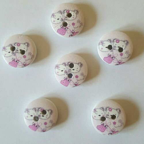 Cute Pussy Cat /& Teddy Bear Buttons Size 15mm Ideal for  Baby Knits
