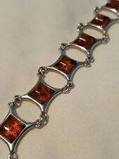 "Square link Cognac baltic amber sterling silver bracelet 7.5"""