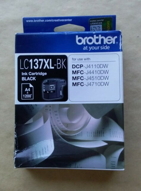 1x Genuine Brother LC137XL-BK Black Ink Cartridge 1,200 Pages DCP-J4110DW LC137