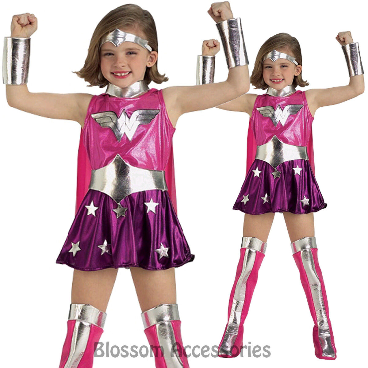 Justice League - Pink Wonder Woman Super Hero Dress Girls Book Week Costume