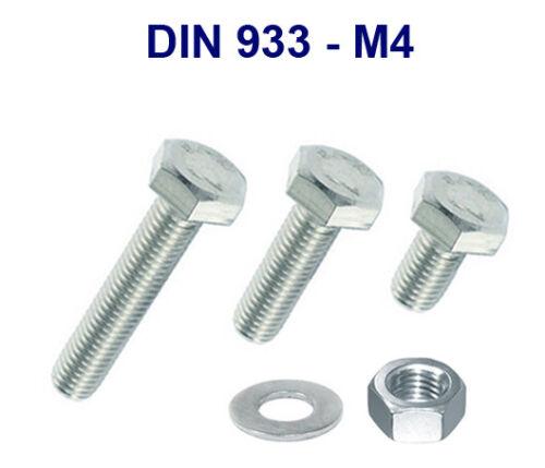 M4 Sechskantschrauben Außensechskant Schrauben Gewinde metrisch Stahl DIN 933