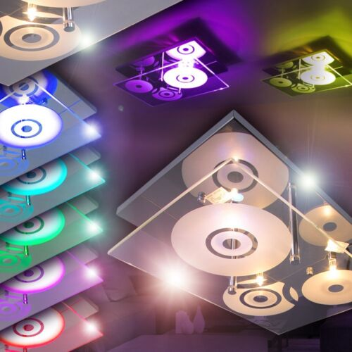 LED Couleur plafonniers couloir lampes salon chambre mur télécommande verre