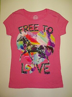 NEW Girls Horse Shirt size 7 8 Pink pony equestrian top