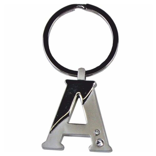 A unique gift. Chrome Silver Chunky Alphabet key rings A-Z Free Engraving