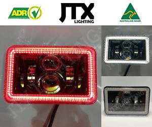 "JTX, 1 Pair Black LED Headlights, 4x6"", White and Red Halo, Toyota Landcruiser"