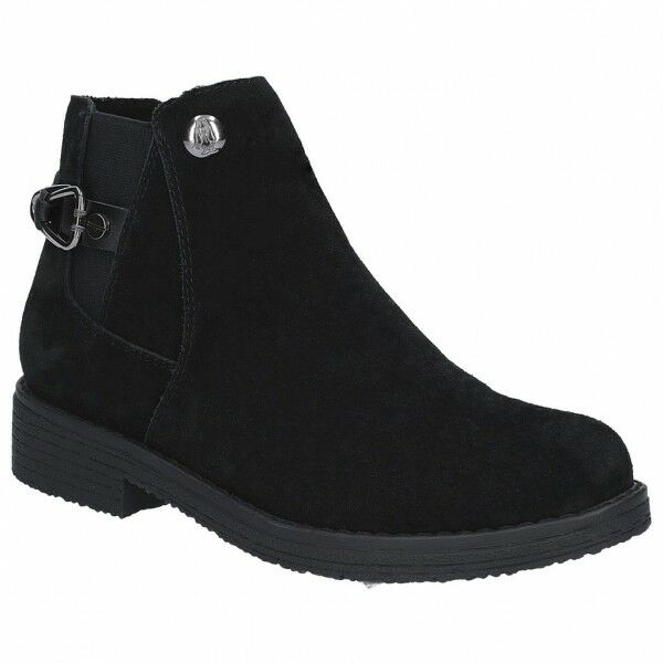 Hush Puppies ALASKA Ladies Womens Suede Leather Casual Ankle Boots Black