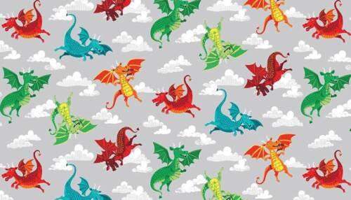 Makower Patchwork Fabric Dragonheart Dragons Grey Per 1//4 Metre