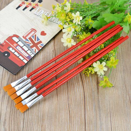6Pcs Nylon Hair Acrylic Watercolor Oil Painting Supplies Artist Paint Brush Set
