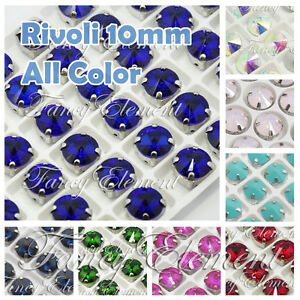 (Small Qty) 8pcs 10mm Glass Rivoli Round 1122 All Color Sew On Rhinestones Beads
