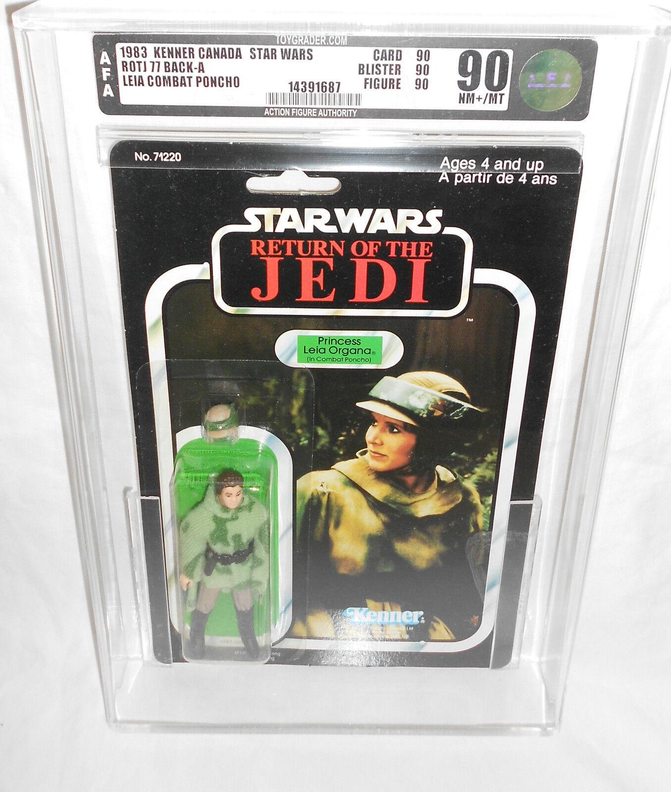 Vintage Star Wars Leia Combat Poncho Afa 90 Transparente 909090 Kenner Canadá