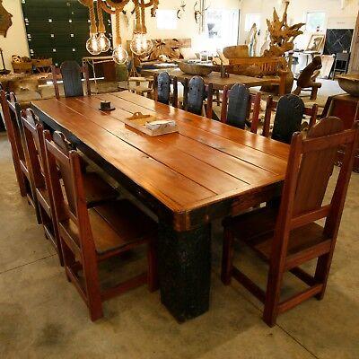 Tisch und zehn Stühle riesig afrikanisch Teak Altholz massiv Unikat 300 x 120 | eBay