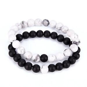 rabais de premier ordre conception de la variété acheter réel Détails sur 2x couples his & her distance bracelet amoureux de la perle de  lave
