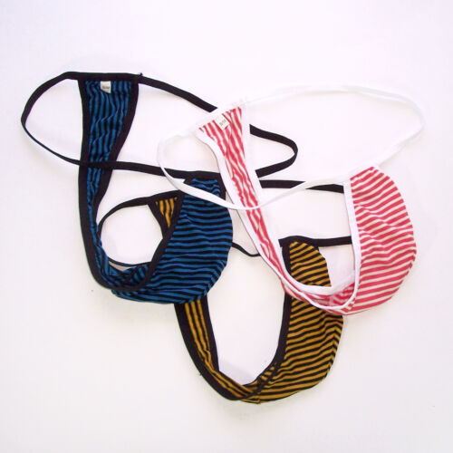 K202 C String Thong Posing Pouch Contoured Pouch Cotton Striped