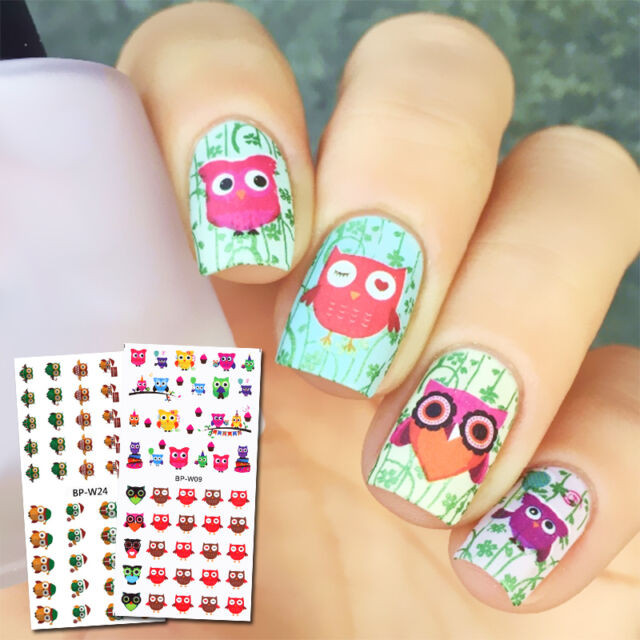 2 Sheets Born Pretty Water Decals Colorful Owl Design Nail Art ...