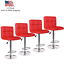 usa set of 4 bar stools leather adjustable swivel pub chairs counter height red