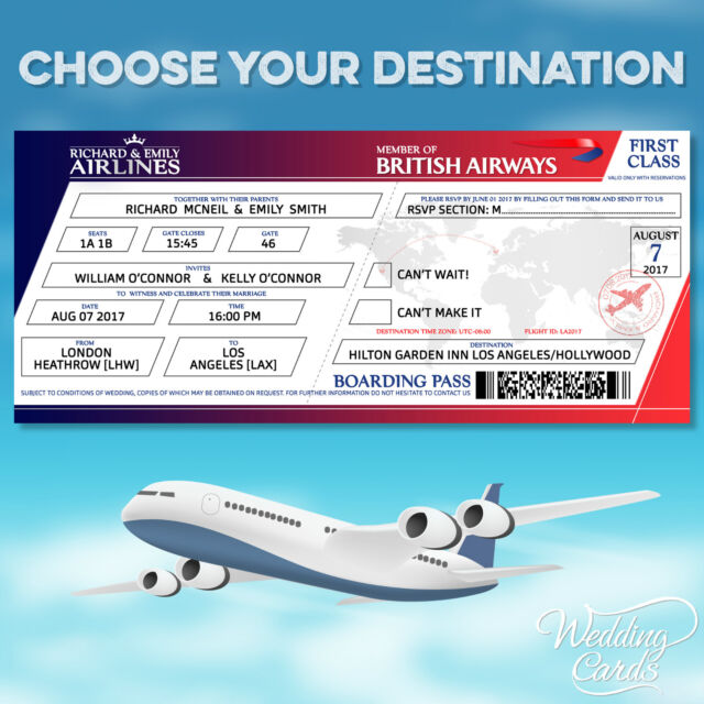 10x Personalised Flight Wedding Birthday Ticket Invitations Boarding Pass Invite