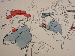 Fringant Lithographie - Estampe Belle époque Caricature Dans Le Gout De Steinlen