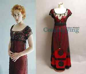 Titanic Rose Evening Ball Gown Party Dress Costume Jump Victorian Outfit Cosplay