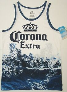 Corona-Extra-Shirt-Small-34-36-Beer-Logo-Blue-Wave-on-White-with-Crown