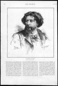 1895-Antique-Print-PORTRAIT-Alphonse-Daudet-Author-Novelist-French-89