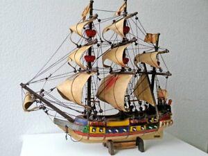 "Vintage Holz Modell Segel Boot  ""BRANDENBURG 1683""  original Nachbau"