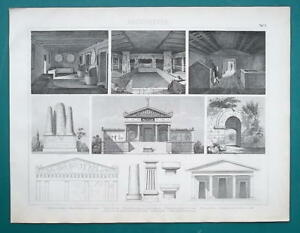 ARCHITECTURE-Etruscan-Cerveteri-Tombs-Capitals-1870s-Antique-Print
