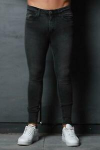 New-Mens-Super-Stretch-Denim-Designer-Spray-Ons-Tight-Skinny-Jeans-Charcoal-Grey