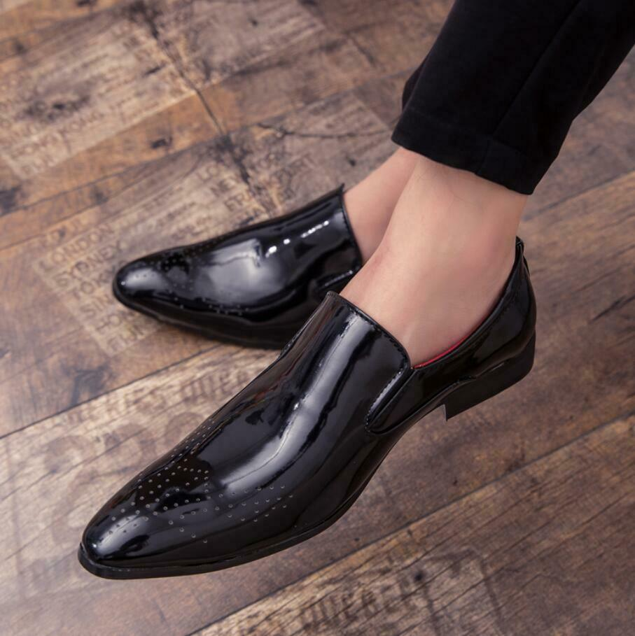 Oxford Mens Dress Formal Casual Business Pointy toe Slip On Patent Leather Shoes