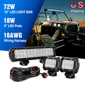 72w Cree Led Light Bar Combowiring Harness Offroad Jeep Suv Wrangler Nilight Led Wiring Diagram on