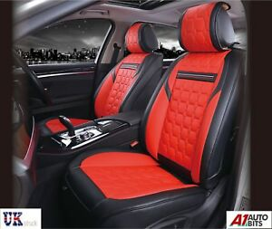 Deluxe Black PU Leather Front Seat Covers Cushion For Skoda Octavia Superb
