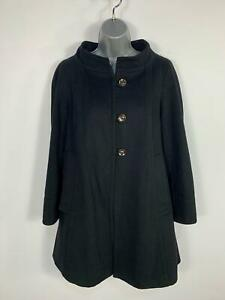 WOMENS-ZARA-BLACK-BUTTON-UP-SMART-CASUAL-WINTER-LONG-OVERCOAT-JACKET-SIZE-MEDIUM