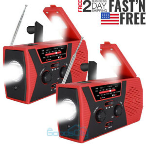 Emergency Solar Wind Up Hand Crank Dynamo AM/FM/WB Radio LED Torch USB Charger