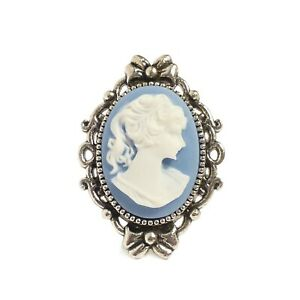 Victorian-Gothic-Blue-Cameo-ring-Portrait-of-a-lady-silver-steampunk-wedding