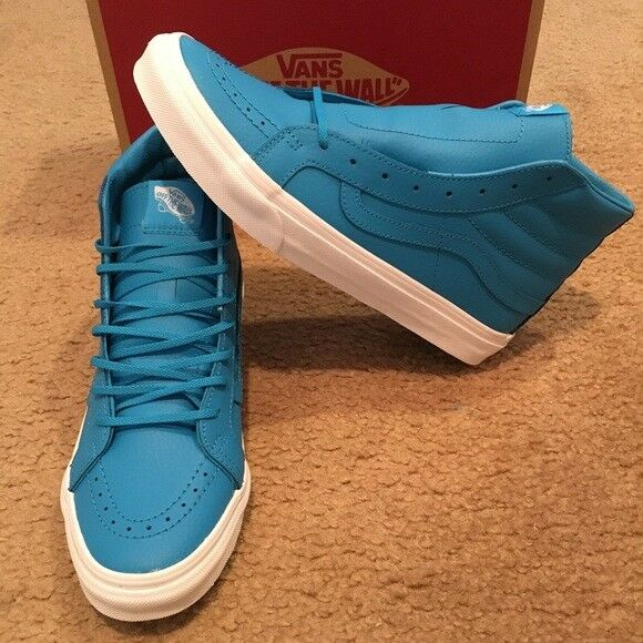 5cdd90be96465f VANS Mens 8 Womens 9.5 Sk8 Hi Slim Neon Leather Blue High Top Shoes SNEAKERS  for sale online