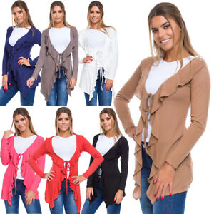 Womens Asymmetric Tied Cardigan Loose Fit Long Sleeve Open Front Sizes S-L W18