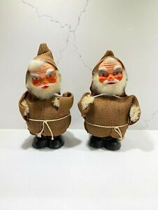 Set-of-2-Vintage-West-Germany-Candy-Containers-Santa-Bobble-Head-Nodder-RARE