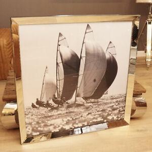 Maritim-Wandbild-Segelschiff-Segelboot-Segelyacht-Nostalgie-Spiegelrahmen-Foto
